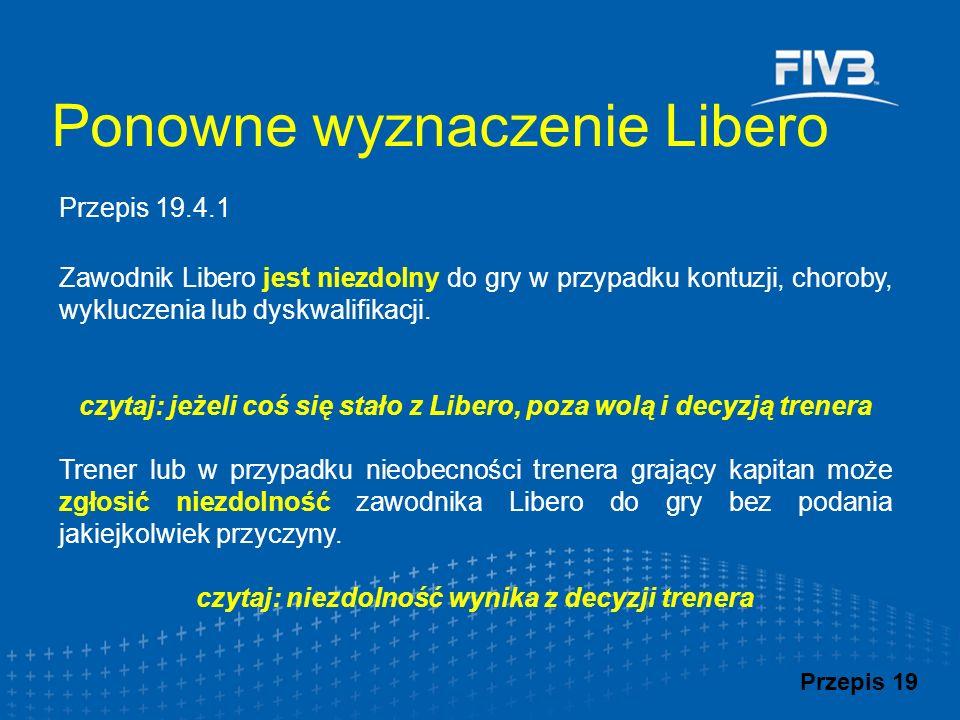 Zawodnik Libero jest niezdolny do gry w przypadku kontuzji, choroby, wykluczenia lub dyskwalifikacji. czytaj: jeżeli coś się stało z Libero, poza wolą