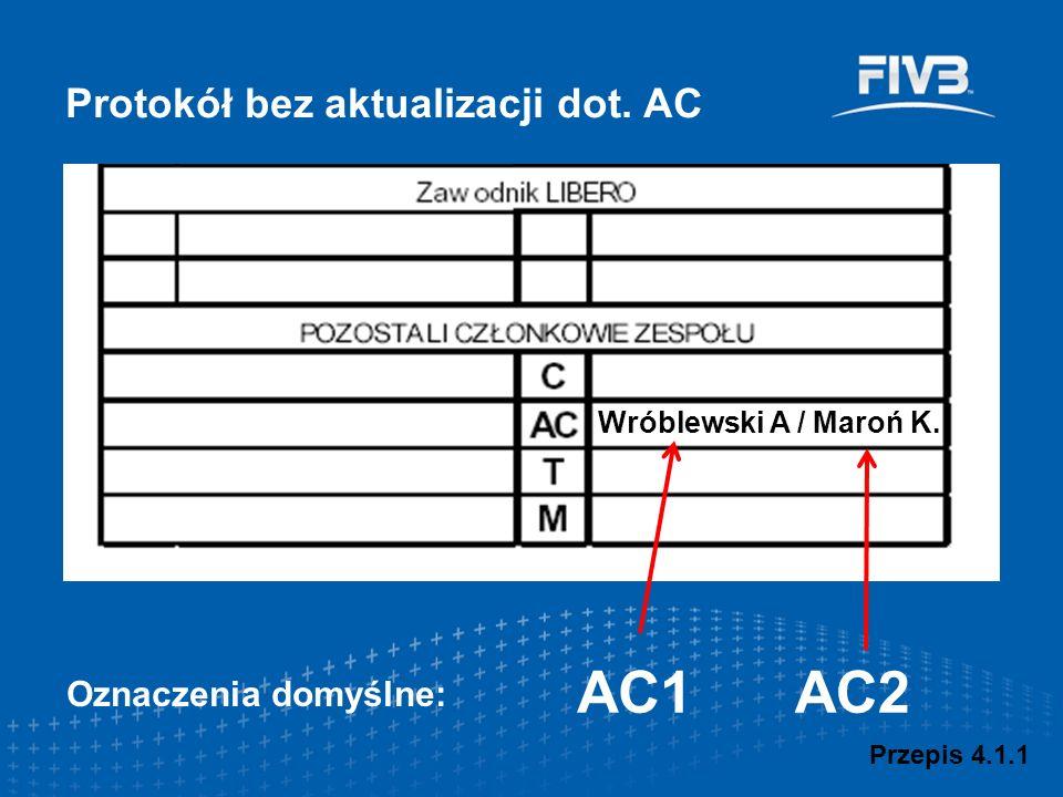 Wróblewski A / Maroń K. AC1AC2 Protokół bez aktualizacji dot. AC Oznaczenia domyślne: Przepis 4.1.1