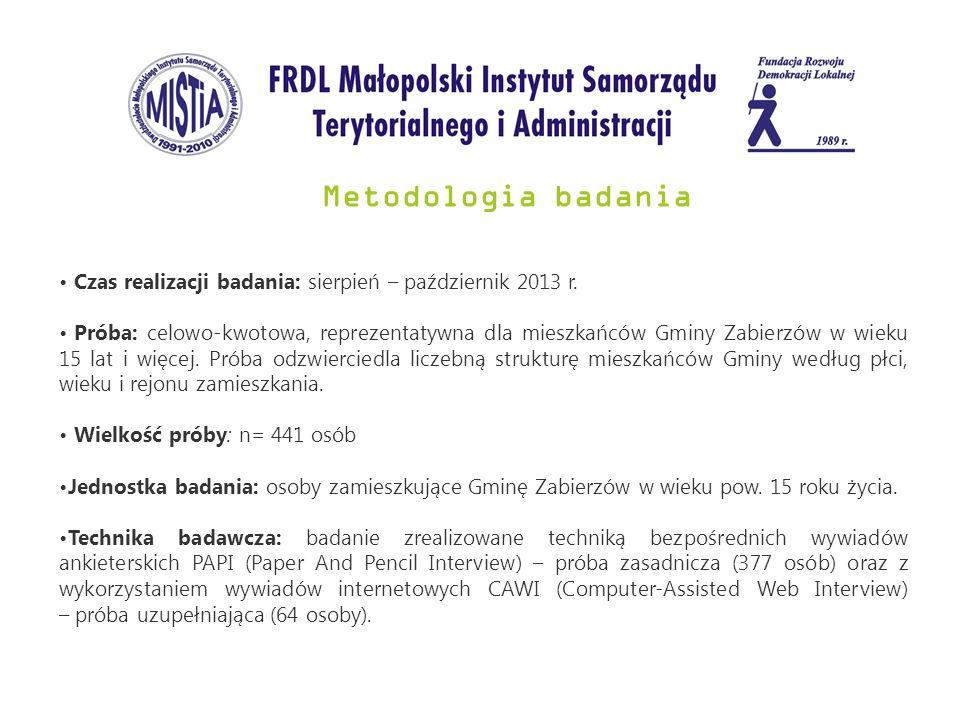 Metodologia badania Czas realizacji badania: sierpień – październik 2013 r.