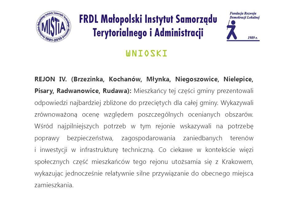 WNIOSKI REJON IV. (Brzezinka, Kochanów, Młynka, Niegoszowice, Nielepice, Pisary, Radwanowice, Rudawa): Mieszkańcy tej części gminy prezentowali odpowi