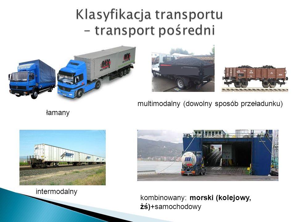Klasyfikacja transportu – transport pośredni łamany multimodalny (dowolny sposób przeładunku) intermodalny kombinowany: morski (kolejowy, żś)+samochod