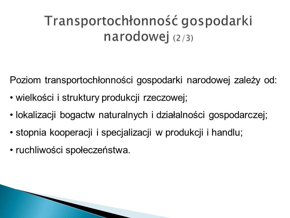 Transportochłonność gospodarki narodowej (2/3) Poziom transportochłonności gospodarki narodowej zależy od: wielkości i struktury produkcji rzeczowej;