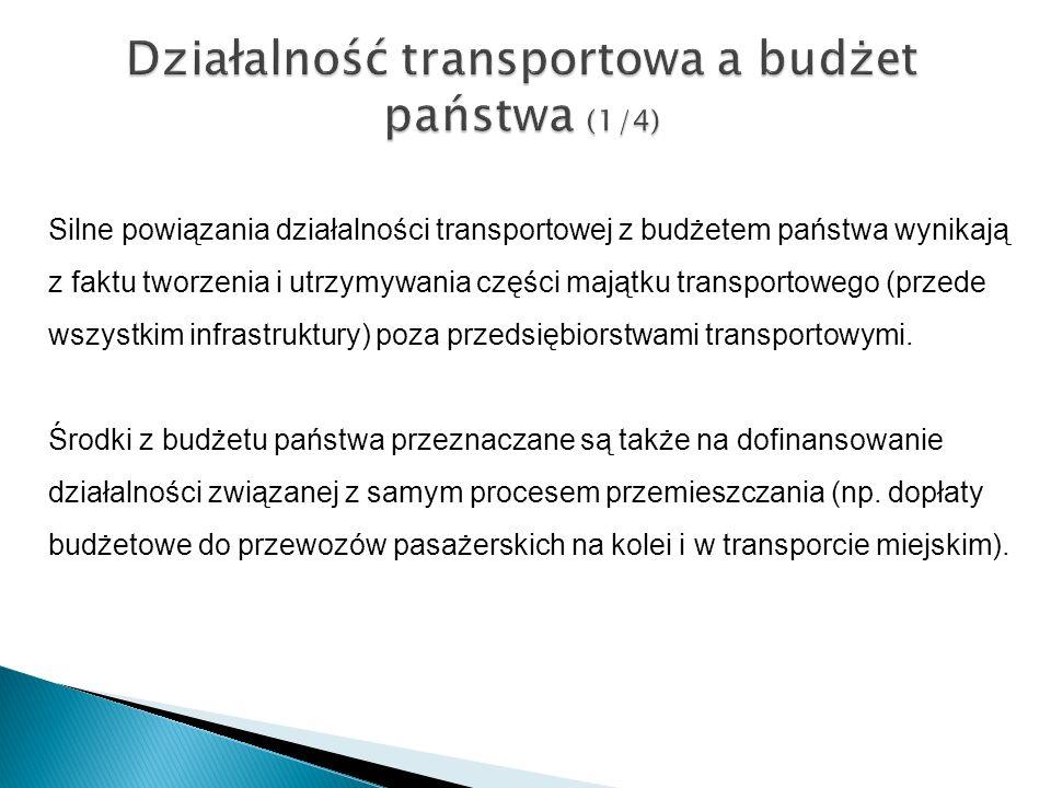 Działalność transportowa a budżet państwa (1/4) Silne powiązania działalności transportowej z budżetem państwa wynikają z faktu tworzenia i utrzymywan