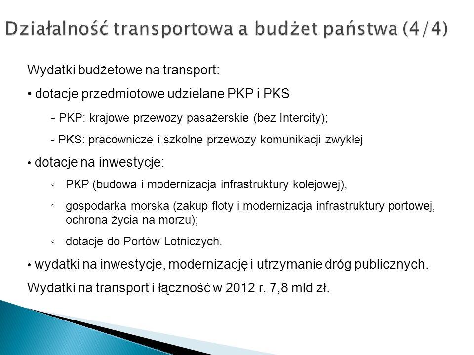 Działalność transportowa a budżet państwa (4/4) Wydatki budżetowe na transport: dotacje przedmiotowe udzielane PKP i PKS - PKP: krajowe przewozy pasaż