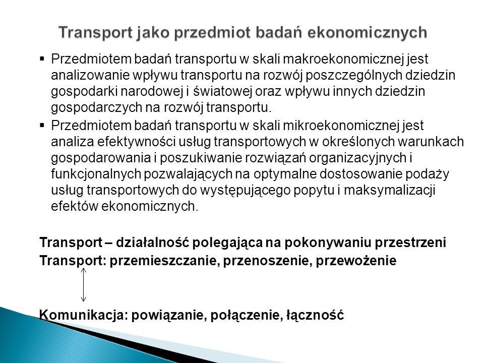 Transportochłonność gospodarki narodowej (2/3) Poziom transportochłonności gospodarki narodowej zależy od: wielkości i struktury produkcji rzeczowej; lokalizacji bogactw naturalnych i działalności gospodarczej; stopnia kooperacji i specjalizacji w produkcji i handlu; ruchliwości społeczeństwa.