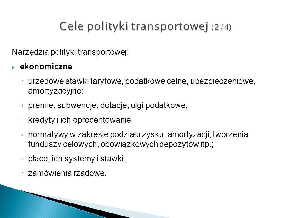 Narzędzia polityki transportowej: ekonomiczne urzędowe stawki taryfowe, podatkowe celne, ubezpieczeniowe, amortyzacyjne; premie, subwencje, dotacje, u