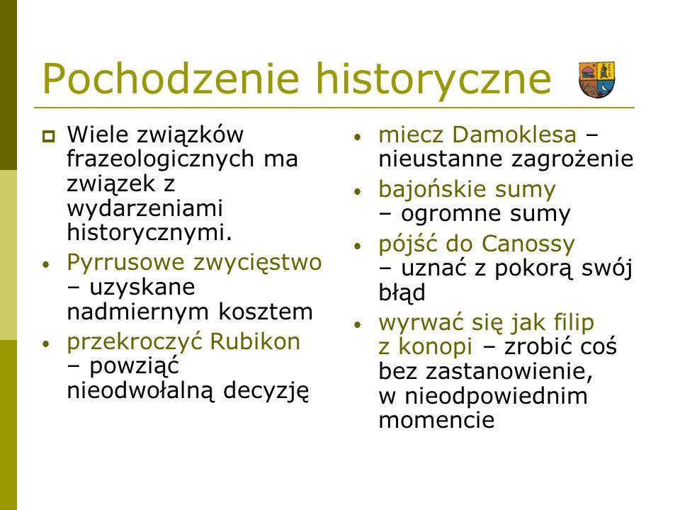 Pochodzenie literackie Wiele związków frazeologicznych wywodzi się z literatury starożytnej i nowożytnej.