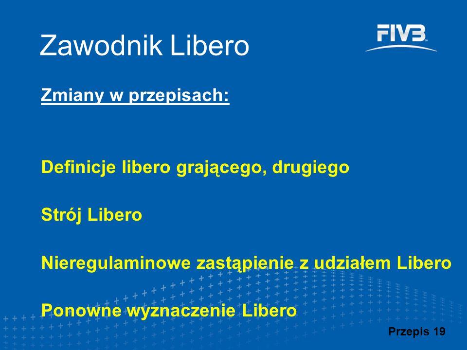Zawodnik Libero Zmiany w przepisach: Definicje libero grającego, drugiego Strój Libero Nieregulaminowe zastąpienie z udziałem Libero Ponowne wyznaczen