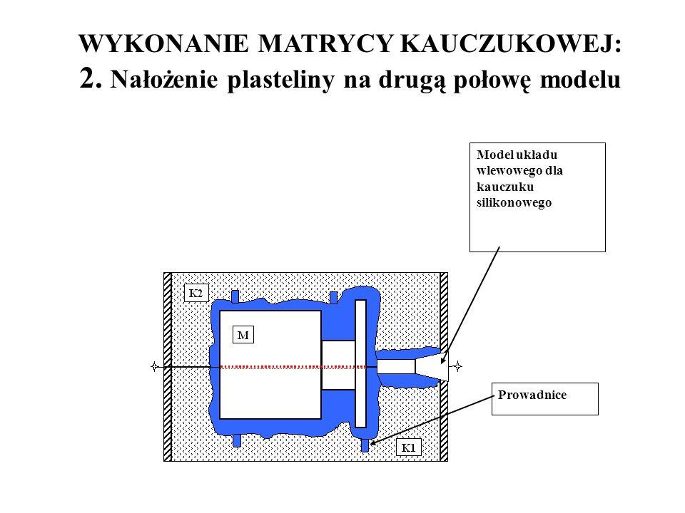Model układu wlewowego dla kauczuku silikonowego Prowadnice WYKONANIE MATRYCY KAUCZUKOWEJ: 2. Nałożenie plasteliny na drugą połowę modelu