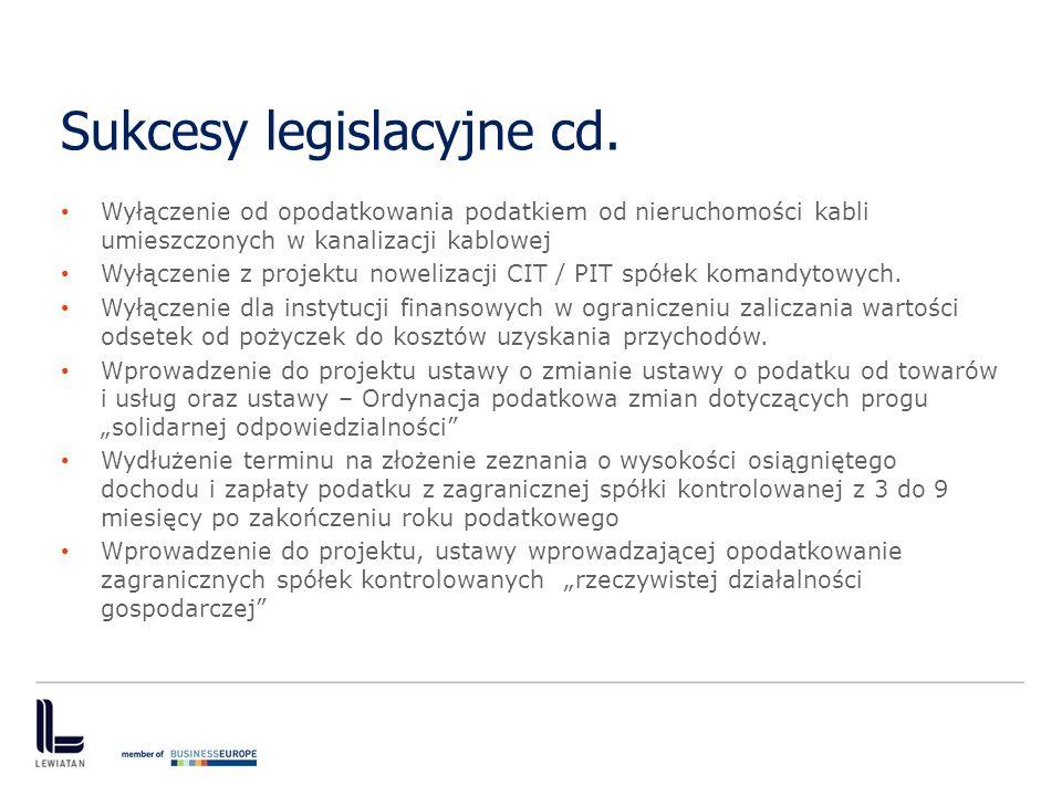 Sukcesy legislacyjne cd. Wyłączenie od opodatkowania podatkiem od nieruchomości kabli umieszczonych w kanalizacji kablowej Wyłączenie z projektu nowel