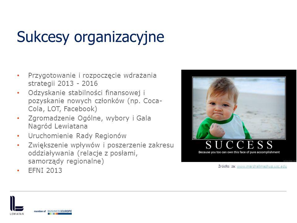 Sukcesy organizacyjne Przygotowanie i rozpoczęcie wdrażania strategii 2013 - 2016 Odzyskanie stabilności finansowej i pozyskanie nowych członków (np.