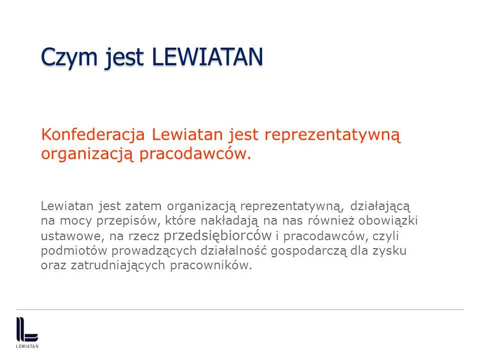 Czym jest LEWIATAN Konfederacja Lewiatan jest reprezentatywną organizacją pracodawców. Lewiatan jest zatem organizacją reprezentatywną, działającą na