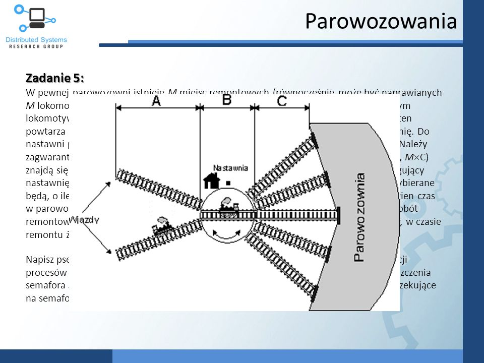Parowozowania Zadanie 5: W pewnej parowozowni istnieje M miejsc remontowych (równocześnie może być naprawianych M lokomotyw). Naprawa taka trwa pewien