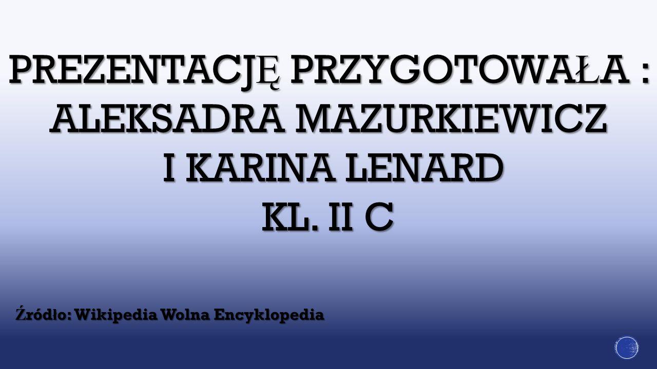 PREZENTACJ Ę PRZYGOTOWA Ł A : ALEKSADRA MAZURKIEWICZ I KARINA LENARD KL. II C Ź ród ł o: Wikipedia Wolna Encyklopedia