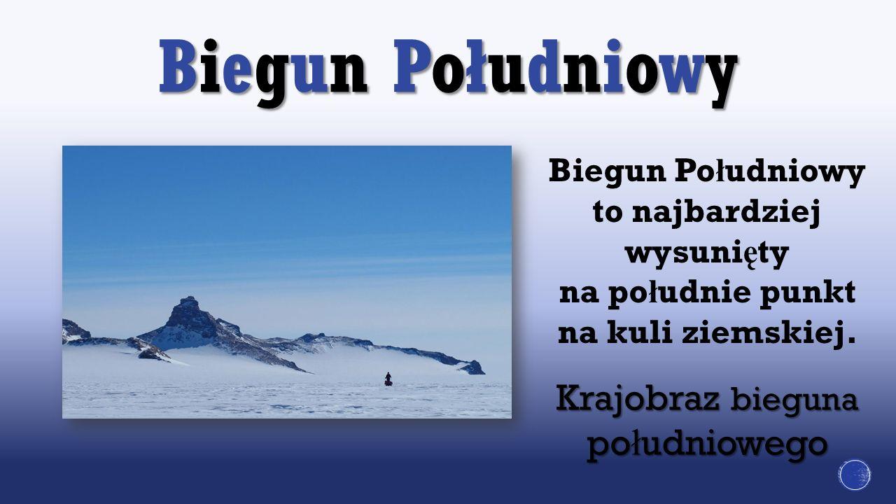 Biegun Południowy Krajobraz bieguna po ł udniowego Biegun Po ł udniowy to najbardziej wysuni ę ty na po ł udnie punkt na kuli ziemskiej.
