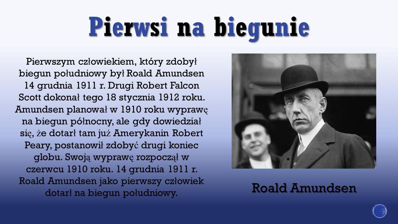 Pierwszym cz ł owiekiem, który zdoby ł biegun po ł udniowy by ł Roald Amundsen 14 grudnia 1911 r. Drugi Robert Falcon Scott dokona ł tego 18 stycznia
