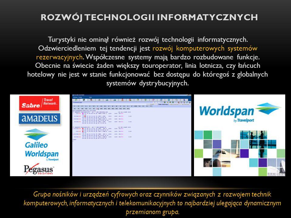 ROZWÓJ TECHNOLOGII INFORMATYCZNYCH Turystyki nie ominął również rozwój technologii informatycznych.