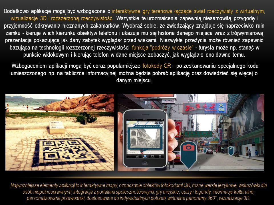 Dodatkowo aplikacje mogą być wzbogacone o interaktywne gry terenowe łączące świat rzeczywisty z wirtualnym, wizualizacje 3D i rozszerzoną rzeczywistoś