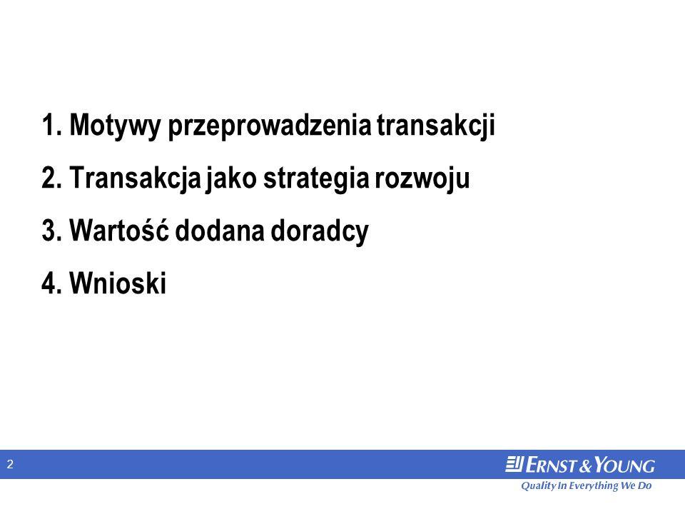2 1. Motywy przeprowadzenia transakcji 2. Transakcja jako strategia rozwoju 3. Wartość dodana doradcy 4. Wnioski