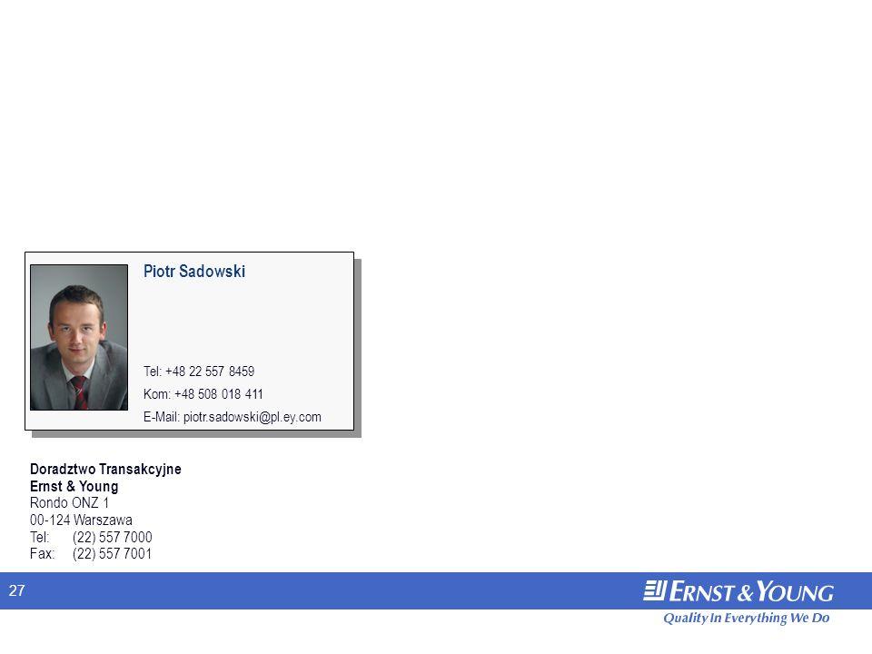 27 Doradztwo Transakcyjne Ernst & Young Rondo ONZ 1 00-124 Warszawa Tel: (22) 557 7000 Fax: (22) 557 7001 Piotr Sadowski Tel: +48 22 557 8459 Kom: +48