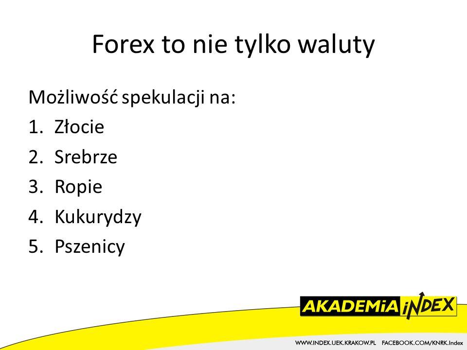 Forex to nie tylko waluty Możliwość spekulacji na: 1.Złocie 2.Srebrze 3.Ropie 4.Kukurydzy 5.Pszenicy