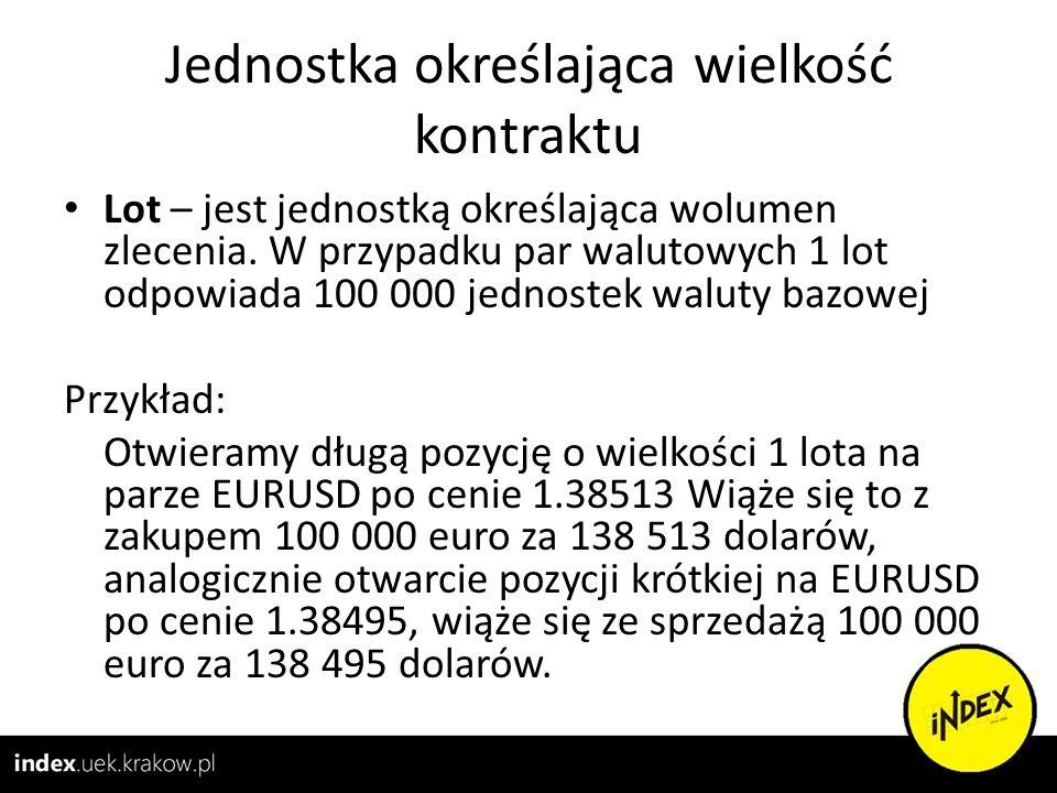 Jednostka określająca wielkość kontraktu Lot – jest jednostką określająca wolumen zlecenia. W przypadku par walutowych 1 lot odpowiada 100 000 jednost