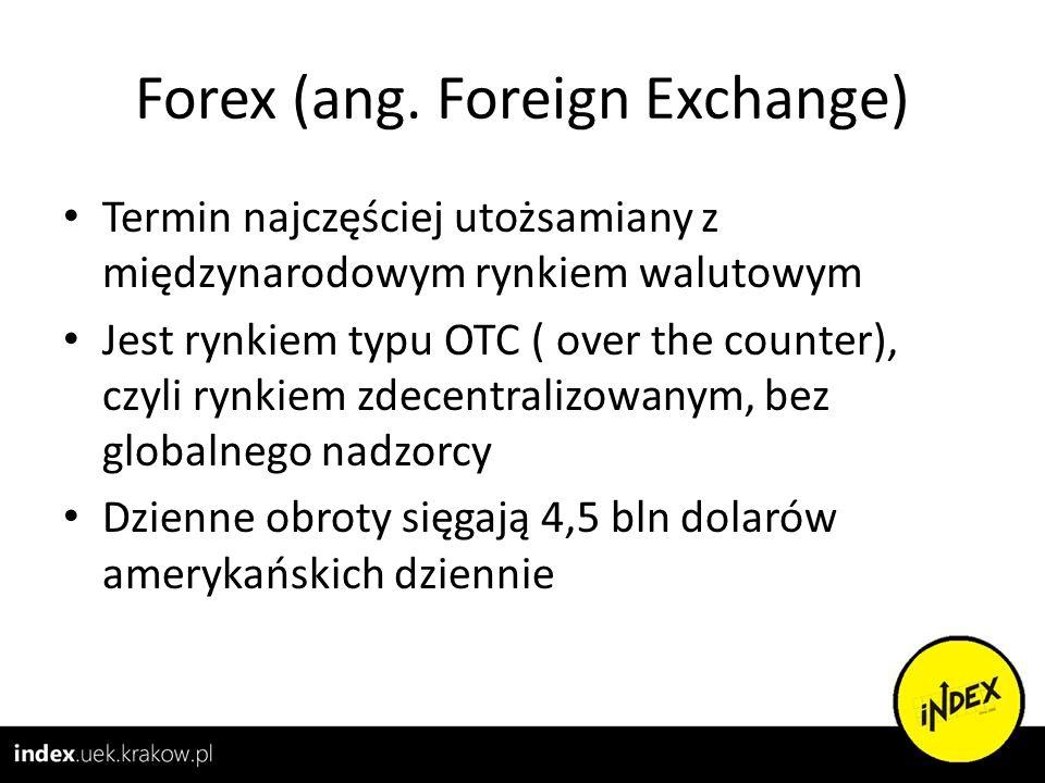Forex (ang. Foreign Exchange) Termin najczęściej utożsamiany z międzynarodowym rynkiem walutowym Jest rynkiem typu OTC ( over the counter), czyli rynk