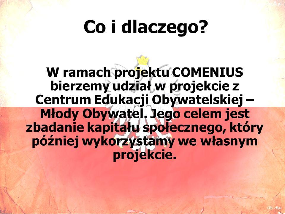 W ramach projektu COMENIUS bierzemy udział w projekcie z Centrum Edukacji Obywatelskiej – Młody Obywatel.