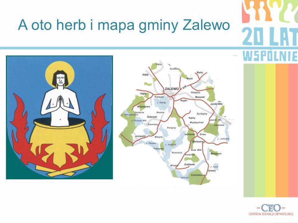 A oto herb i mapa gminy Zalewo