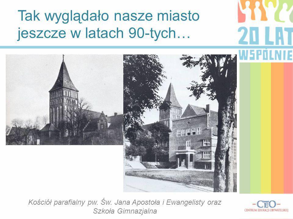 Tak wyglądało nasze miasto jeszcze w latach 90-tych… Kościół parafialny pw. Św. Jana Apostoła i Ewangelisty oraz Szkoła Gimnazjalna