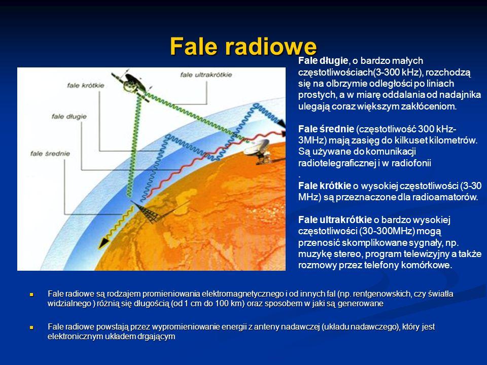 Fale radiowe Fale radiowe są rodzajem promieniowania elektromagnetycznego i od innych fal (np. rentgenowskich, czy światła widzialnego ) różnią się dł