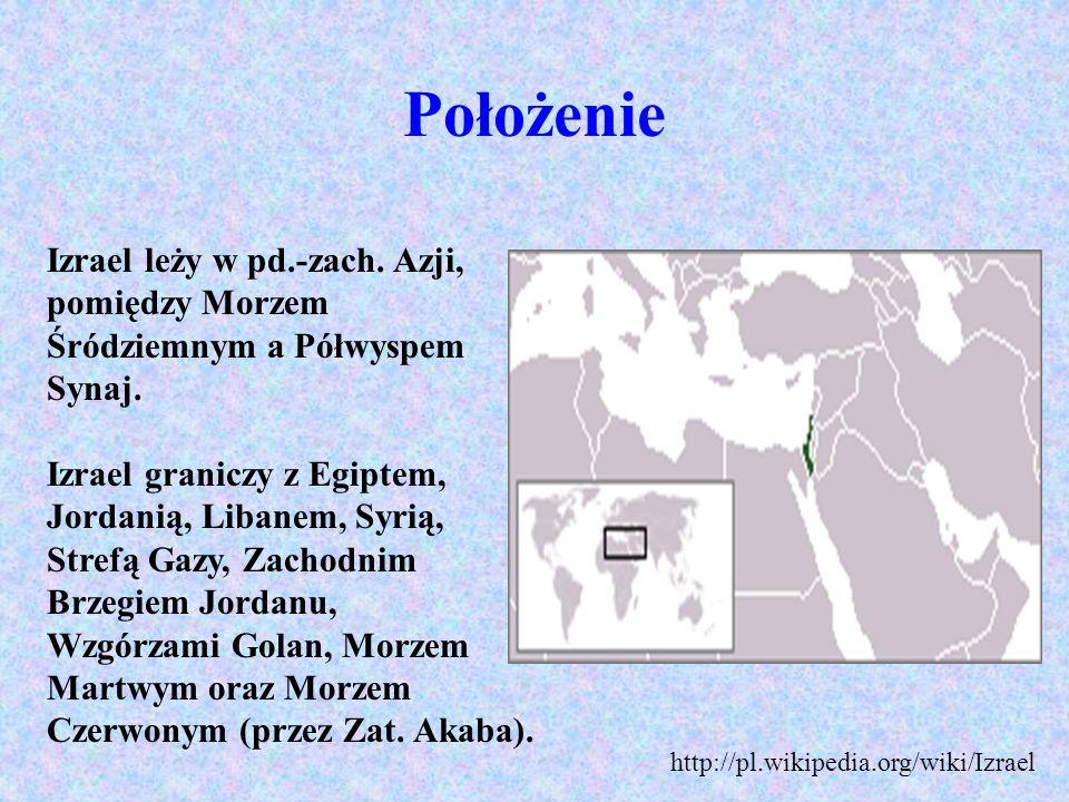 Położenie Izrael leży w pd.-zach. Azji, pomiędzy Morzem Śródziemnym a Półwyspem Synaj. Izrael graniczy z Egiptem, Jordanią, Libanem, Syrią, Strefą Gaz