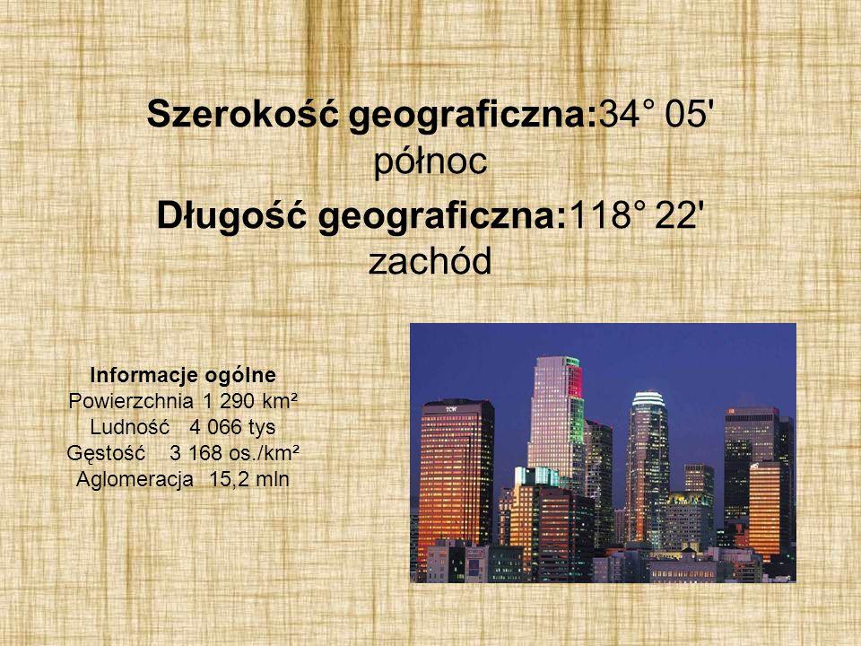 Szerokość geograficzna:34° 05 północ Długość geograficzna:118° 22 zachód Informacje ogólne Powierzchnia 1 290 km² Ludność 4 066 tys Gęstość 3 168 os./km² Aglomeracja 15,2 mln