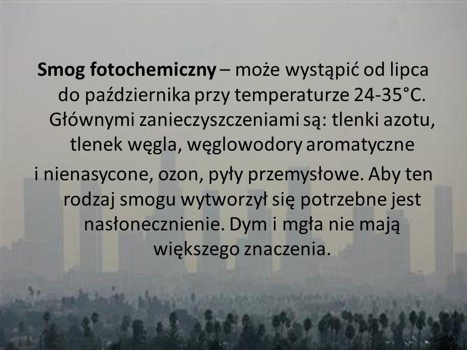 Smog fotochemiczny – może wystąpić od lipca do października przy temperaturze 24-35°C. Głównymi zanieczyszczeniami są: tlenki azotu, tlenek węgla, węg