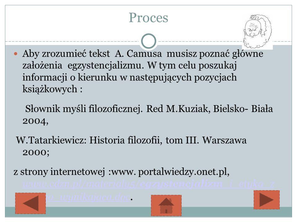 źródła www.cdzn.pl/materialy5/egzystencjalizm_i_etyka_z_niego_wynikajaca.doc., www.cdzn.pl/materialy5/egzystencjalizm_i_etyka_z_niego_wynikajaca.doc http://wiking.edu.pl,http://wiking.edu.pl www.sjp.pl, www.sjp.pl http://filozofia.wyklady.org/wyklad/608_filozofia-slownik-pojec.html http://www.iphils.uj.edu.pl/~j.hartman/slownik_fil.php www.google.plwww.google.pl ( Syzyf Tycjana)