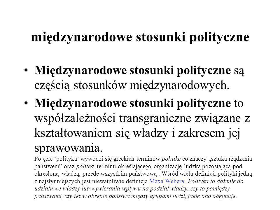 międzynarodowe stosunki polityczne Międzynarodowe stosunki polityczne są częścią stosunków międzynarodowych. Międzynarodowe stosunki polityczne to wsp