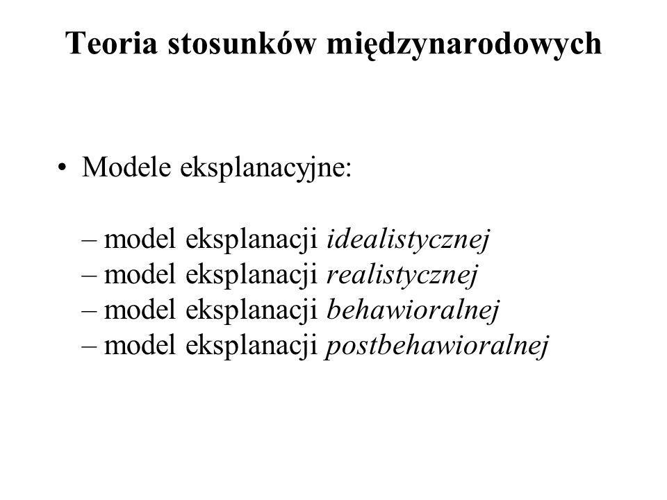 Teoria stosunków międzynarodowych Modele eksplanacyjne: – model eksplanacji idealistycznej – model eksplanacji realistycznej – model eksplanacji behaw