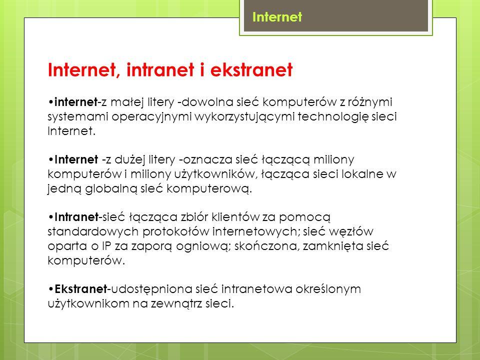 Internet Internet, intranet i ekstranet internet -z małej litery -dowolna sieć komputerów z różnymi systemami operacyjnymi wykorzystującymi technologi