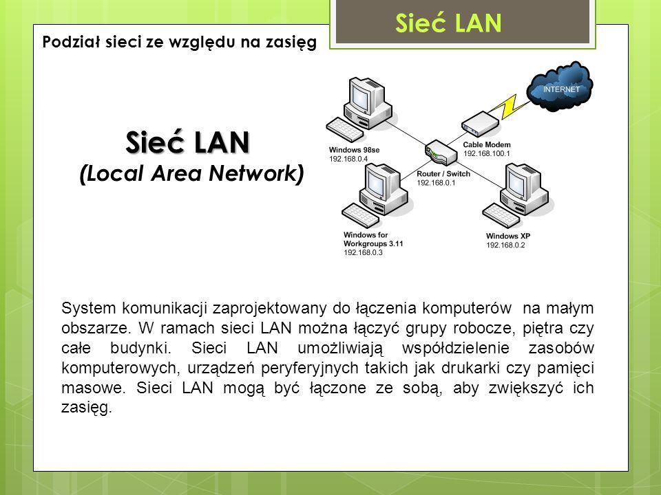 Sieć LAN (Local Area Network) System komunikacji zaprojektowany do łączenia komputerów na małym obszarze. W ramach sieci LAN można łączyć grupy robocz