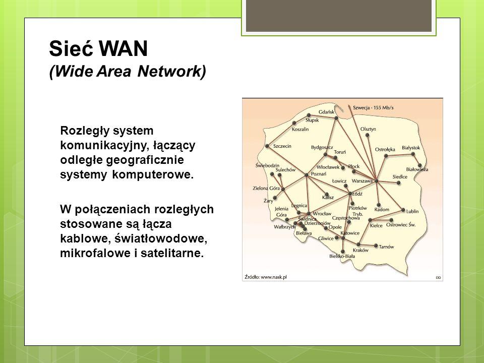Sieć WAN (Wide Area Network) Rozległy system komunikacyjny, łączący odległe geograficznie systemy komputerowe. W połączeniach rozległych stosowane są