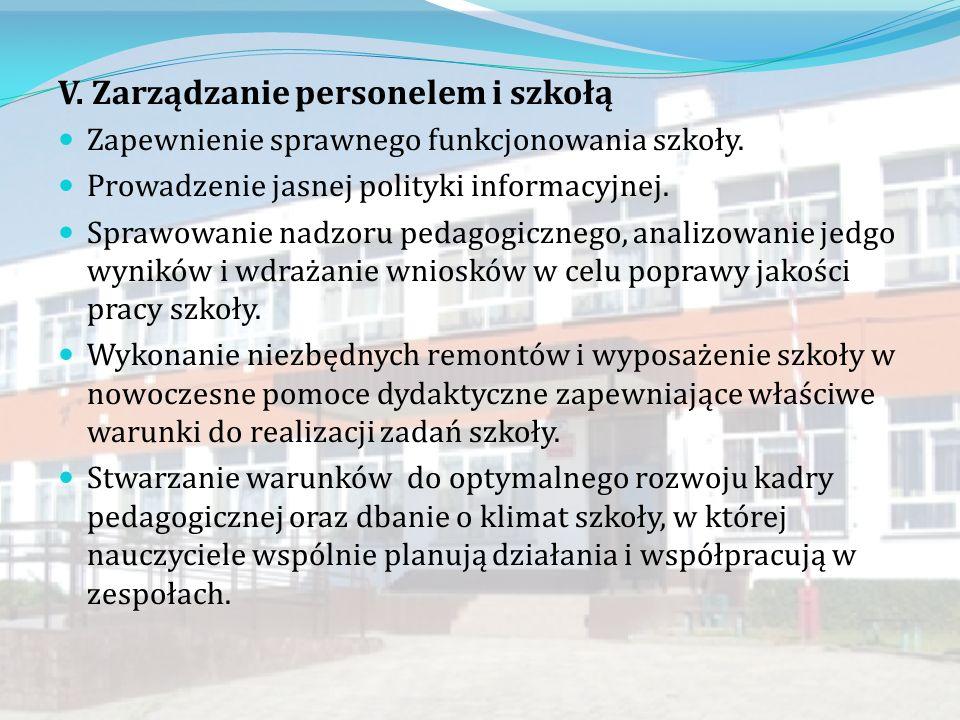 V.Zarządzanie personelem i szkołą Zapewnienie sprawnego funkcjonowania szkoły.