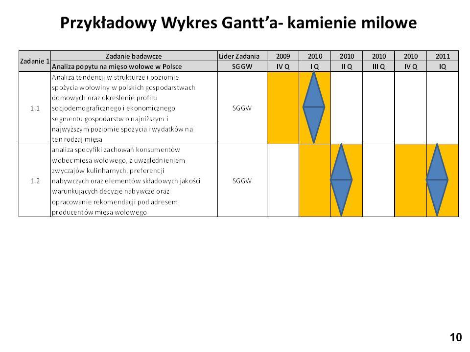 Przykładowy Wykres Gantta- kamienie milowe 10