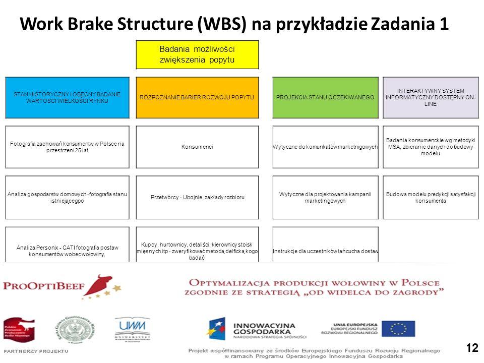 Work Brake Structure (WBS) na przykładzie Zadania 1 Badania możliwości zwiększenia popytu STAN HISTORYCZNY I OBECNY BADANIE WARTOSCI WIELKOŚCI RYNKU ROZPOZNANIE BARIER ROZWOJU POPYTUPROJEKCIA STANU OCZEKIWANEGO INTERAKTYWNY SYSTEM INFORMATYCZNY DOSTĘPNY ON- LINE Fotografia zachowań konsumentw w Polsce na przestrzeni 25 lat KonsumenciWytyczne do komunkatów marketnigowych Badania konsumenckie wg metodyki MSA, zbieranie danych do budowy modelu Analiza gospodarstw domowych -fotografia stanu istniejącegpo Przetwórcy - Ubojnie, zakłady rozbioru Wytyczne dla projektowania kampanii marketingowych Budowa modelu predykcji satysfakcji konsumenta Analiza Personix - CATI fotografia postaw konsumentów wobec wołowiny, Kupcy, hurtownicy, detaliści, kierownicy stoisk mięsnych itp - zweryfikować metodą delficką kogo badać Instrukcje dla uczestników łańcucha dostaw 12