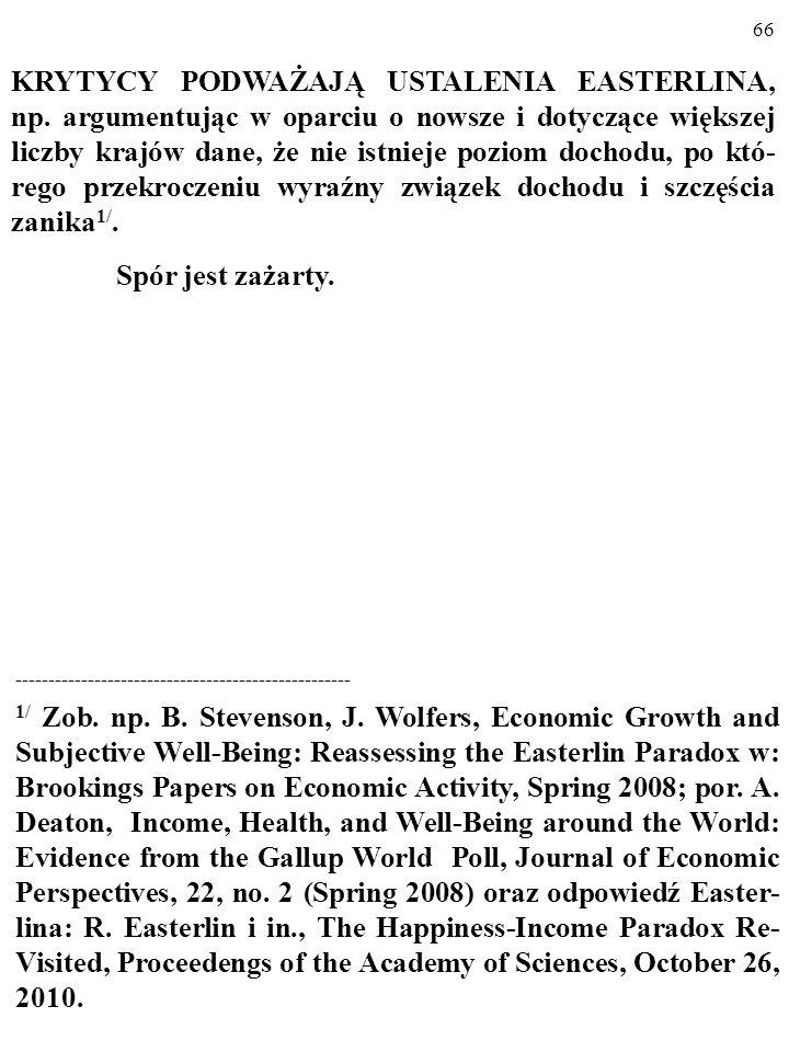 65 Wyjaśnienia PARADOKSU EASTERLINA: 3. Chodzi o PRAWO MALEJĄCYCH PRZYCHODÓW (ang. law of diminishing returns). Krańcowy pożytek z danego przyrostu do