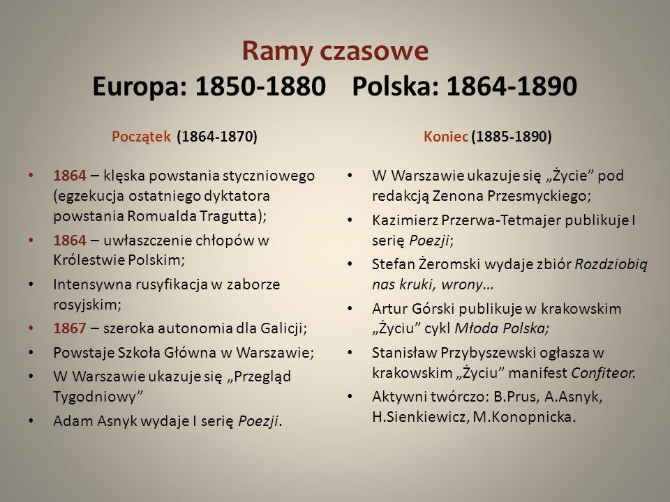 Ramy czasowe Europa: 1850-1880 Polska: 1864-1890 Początek (1864-1870) 1864 – klęska powstania styczniowego (egzekucja ostatniego dyktatora powstania R