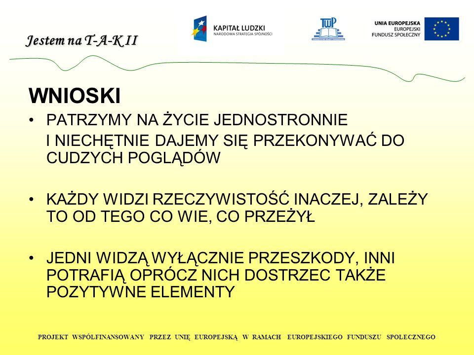 Jestem na T-A-K II PROJEKT WSPÓŁFINANSOWANY PRZEZ UNIĘ EUROPEJSKĄ W RAMACH EUROPEJSKIEGO FUNDUSZU SPOŁECZNEGO CV DANE OSOBISTE: Imię i nazwisko: Anna Nowak Adres: 45-273 Opole, ul.