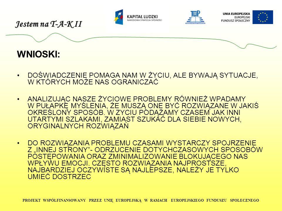 Jestem na T-A-K II PROJEKT WSPÓŁFINANSOWANY PRZEZ UNIĘ EUROPEJSKĄ W RAMACH EUROPEJSKIEGO FUNDUSZU SPOŁECZNEGO Z PRAWEJ DOLNEJ STRONY KARTKI: Zwrot pożegnalny czytelny, odręczny podpis