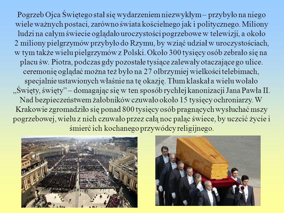Pogrzeb Ojca Świętego stał się wydarzeniem niezwykłym – przybyło na niego wiele ważnych postaci, zarówno świata kościelnego jak i politycznego. Milion
