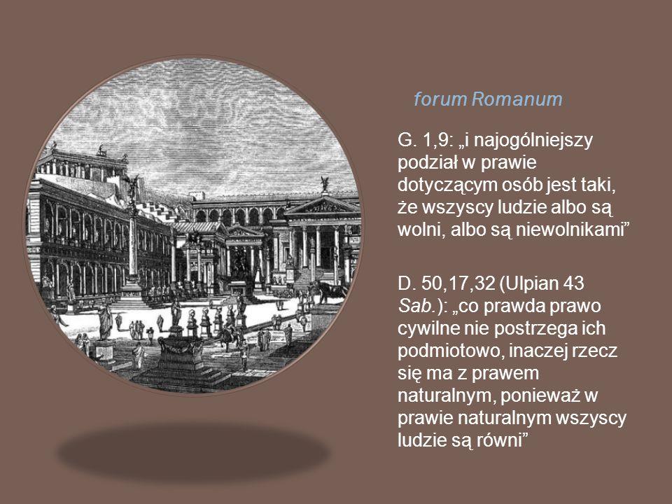 forum Romanum G. 1,9: i najogólniejszy podział w prawie dotyczącym osób jest taki, że wszyscy ludzie albo są wolni, albo są niewolnikami D. 50,17,32 (