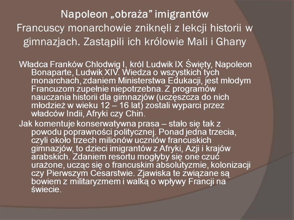 Napoleon obraża imigrantów Francuscy monarchowie zniknęli z lekcji historii w gimnazjach. Zastąpili ich królowie Mali i Ghany Władca Franków Chlodwig